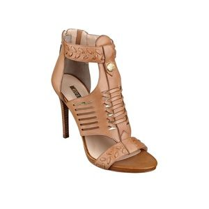 Guess Caged Light Brown Ankle Heels Size 6